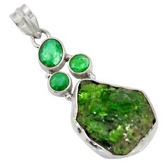 Clearance Sale- 22.02cts green chrome diopside rough emerald 925 sterling silver pendant d37427
