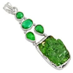 Clearance Sale- 925 sterling silver 24.00cts green chrome diopside rough emerald pendant d37430