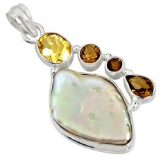 Clearance Sale- 24.35cts natural blister pearl smoky topaz 925 sterling silver pendant d37437