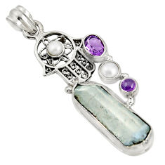 Clearance Sale- 21.72cts natural blue dumortierite 925 silver hand of god hamsa pendant d37522