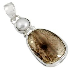 Clearance Sale- 925 sterling silver 16.06cts natural brown agni manitite pearl pendant d37543