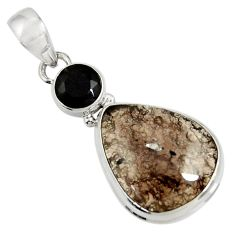 Clearance Sale- 13.70cts natural brown agni manitite onyx 925 sterling silver pendant d37544