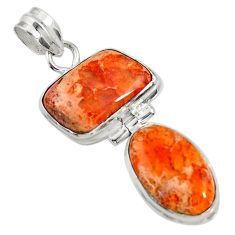 16.20cts natural orange mexican fire opal 925 sterling silver pendant d37548