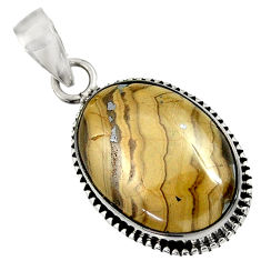 Clearance Sale- 16.70cts natural yellow schalenblende polen 925 sterling silver pendant d37606