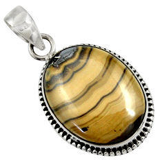 Clearance Sale- 925 sterling silver 21.48cts natural yellow schalenblende polen pendant d37611