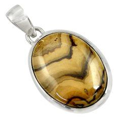 Clearance Sale- 19.99cts natural yellow schalenblende polen 925 sterling silver pendant d37612
