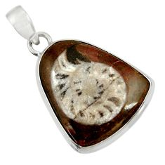 Clearance Sale- 22.05cts natural brown colus fossil 925 sterling silver pendant jewelry d37623