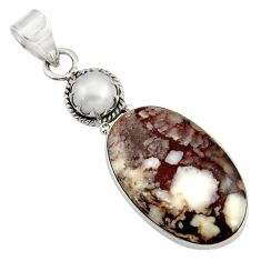 Clearance Sale- 925 silver 18.68cts natural white wild horse magnesite pearl pendant d37628