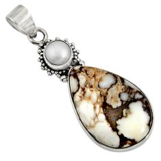 Clearance Sale- 20.88cts natural white wild horse magnesite pearl 925 silver pendant d37632