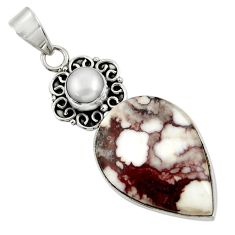 Clearance Sale- 18.70cts natural white wild horse magnesite pearl 925 silver pendant d37633