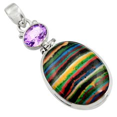 Clearance Sale- 925 silver 18.68cts natural multicolor rainbow calsilica amethyst pendant d37635