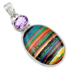 Clearance Sale- 20.88cts natural multicolor rainbow calsilica amethyst 925 silver pendant d37638