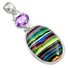 Clearance Sale- 19.23cts natural multicolor rainbow calsilica amethyst 925 silver pendant d37640
