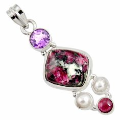 12.64cts natural pink eudialyte amethyst pearl 925 silver pendant d37641
