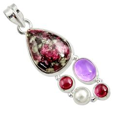16.46cts natural pink eudialyte amethyst pearl garnet 925 silver pendant d37642