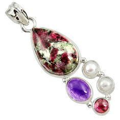 18.15cts natural pink eudialyte amethyst pearl garnet 925 silver pendant d37643