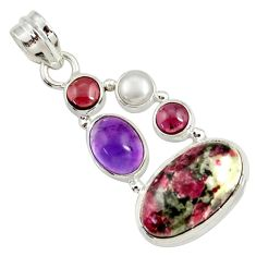 925 silver 15.39cts natural pink eudialyte amethyst pearl garnet pendant d37644
