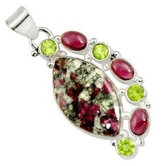 Clearance Sale- 17.10cts natural pink eudialyte red garnet 925 sterling silver pendant d37645