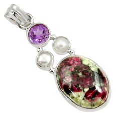 16.54cts natural pink eudialyte amethyst 925 sterling silver pendant d37646