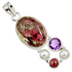 Clearance Sale- 19.34cts natural pink eudialyte amethyst pearl garnet 925 silver pendant d37647