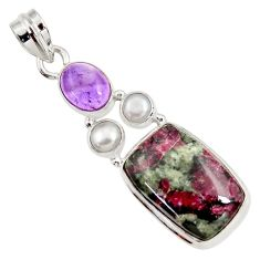Clearance Sale- 925 silver 17.18cts natural pink eudialyte purple amethyst pearl pendant d37649