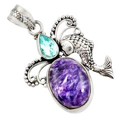 Clearance Sale- 11.46cts natural purple charoite (siberian) topaz 925 silver fish pendant d37651