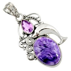 Clearance Sale- 12.71cts natural purple charoite (siberian) 925 silver dolphin pendant d37654