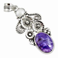 Clearance Sale- 11.19cts natural purple charoite (siberian) 925 silver flower pendant d37655