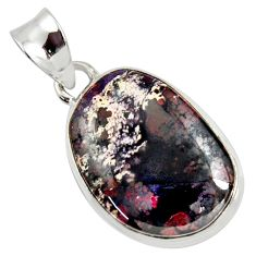 16.20cts natural red bloodstone african (heliotrope) 925 silver pendant d37659