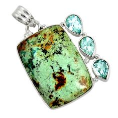 925 silver 23.48cts natural green norwegian turquoise blue topaz pendant d37690