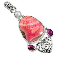 Clearance Sale- 925 silver 26.68cts natural pink rhodochrosite inca rose pearl pendant d37695
