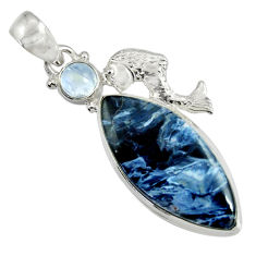 Clearance Sale- 925 silver 19.23cts natural black pietersite (african) fish pendant d37698