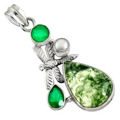 Clearance Sale- 17.57cts natural green moss agate chalcedony 925 silver dragonfly pendant d37705