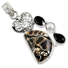 Clearance Sale- 18.70cts natural brown turritella fossil snail agate 925 silver pendant d37706