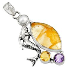 Clearance Sale- 925 silver 20.33cts natural golden rutile amethyst fairy mermaid pendant d37707