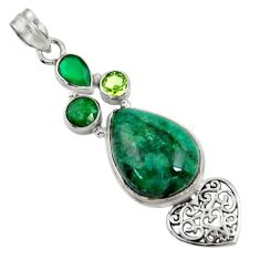Clearance Sale- 925 silver 19.48cts natural green chrome diopside pear emerald pendant d37710