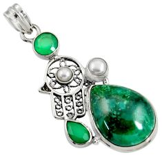 Clearance Sale- 22.22cts natural green chrome diopside silver hand of god hamsa pendant d37711