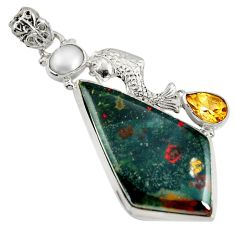 Clearance Sale- 925 silver 27.08cts natural bloodstone african (heliotrope) fish pendant d37714