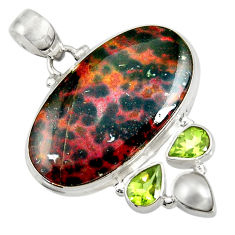 25.57cts natural ocean sea jasper (madagascar) pearl 925 silver pendant d37715