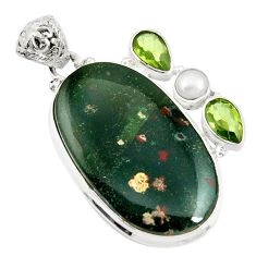 925 silver 27.70cts natural red bloodstone african (heliotrope) pendant d37717