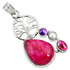 Clearance Sale- 925 silver 21.72cts natural red ruby amethyst pearl tree of life pendant d37718