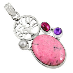Clearance Sale- 23.11cts natural rhodonite in black manganese silver tree of life pendant d37723