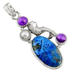 Clearance Sale- 925 silver 21.67cts natural blue shattuckite amethyst pearl fish pendant d37727
