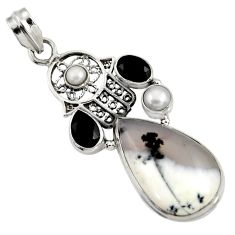 Clearance Sale- 20.07cts natural white dendrite opal 925 silver hand of god hamsa pendant d37730