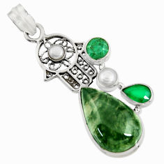 Clearance Sale- 20.07cts natural green moss agate 925 silver hand of god hamsa pendant d37732