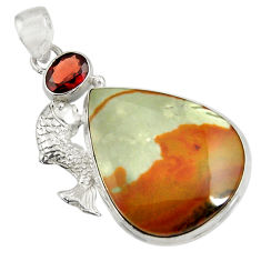Clearance Sale- 925 silver 25.60cts natural rocky butte picture jasper pear fish pendant d37734