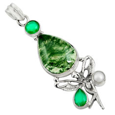 Clearance Sale- 19.00cts natural green moss agate 925 silver angel wings fairy pendant d37735