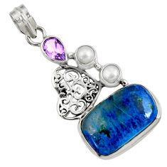 Clearance Sale- 17.67cts natural blue shattuckite amethyst 925 sterling silver pendant d37742