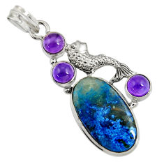 Clearance Sale- 24.08cts natural blue shattuckite purple amethyst 925 silver fish pendant d37743