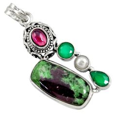 Clearance Sale- 925 silver 24.62cts natural pink ruby zoisite chalcedony pearl pendant d37748
